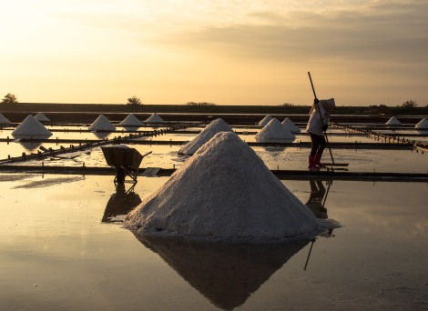 Sunset at the salt fields
