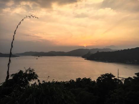 Sunset sun moon lake